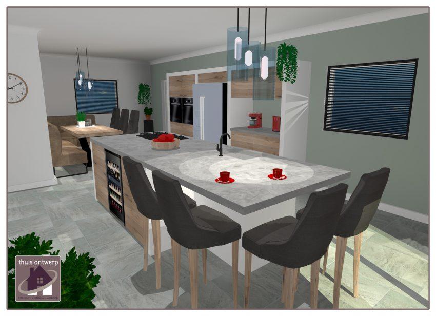 Keukeneiland_ Inrichten keuken_3d_ visualisatie keuken_ Thuis Ontwerp