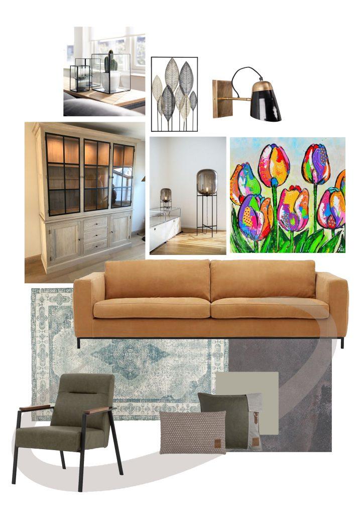 Woonadvies_woonkamer met nieuwe en oude producten_moodboard_Thuis Ontwerp